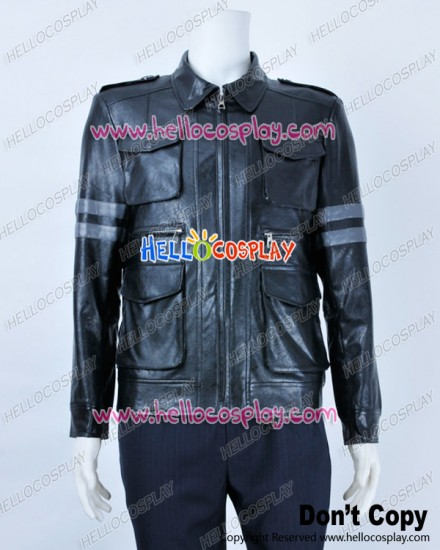 Resident Evil Cosplay Leon DSO Leather Black Jacket Costume