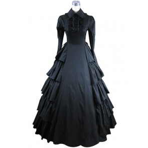 Victorian Gothic Lolita Cosplay Black Dress Ball Gown