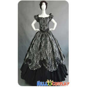 Victorian Lolita Southern Belle Brocade Gothic Lolita Dress Grey Floral