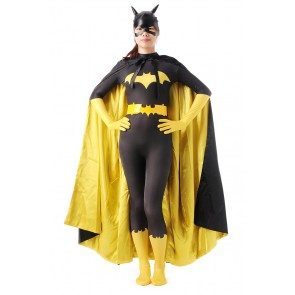 Batman Batgirl Cosplay Costume Jumpsuit Outfit With Cape