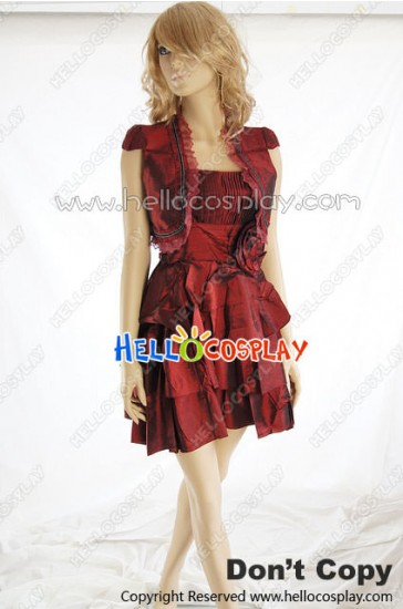 Party Cosplay Wine Red Cape Lady Sling Dress Uniform Costume