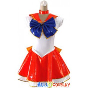 Sailor Moon Sailor Mars Cosplay Costume Leather Dress