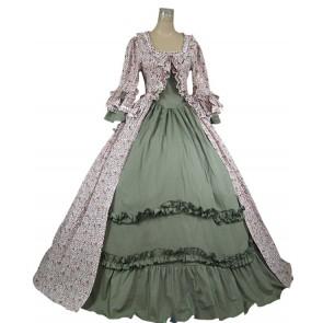 Renaissance Gothic Lolita Reenactment Ball Gown Floral Print Cot
