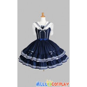 Sweet Lolita Gothic Punk Jumper Skirt Navy Blue Sailor Dress