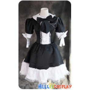Gothic Lolita Cosplay White Black Maid Uniform Dress Costume