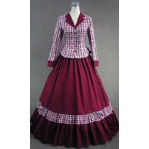 Civil War Victorian Tartan Evening Gown Red Dress