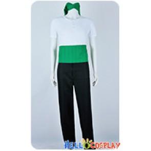 One Piece Cosplay Roronoa Zoro White Green Costume