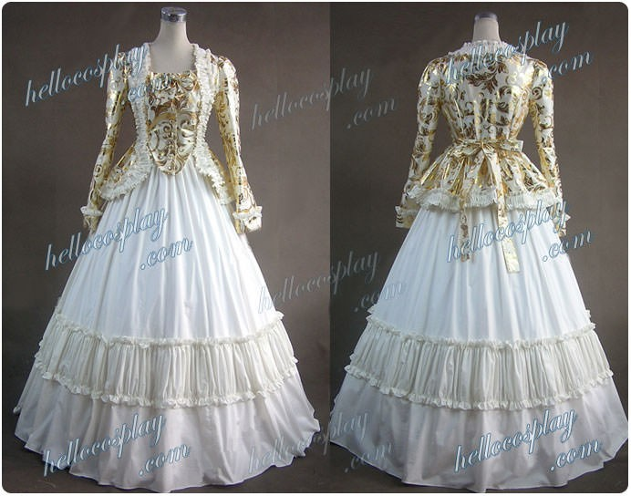 Civil War Satin Jacket Gown Dress Wedding Dress