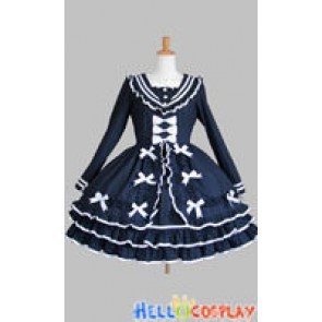 Gothic Lolita Punk Classic Sailor Collar Navy Blue Dress