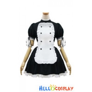 Angel Feather Cosplay Heart Shaped Button Maid Dress Costume