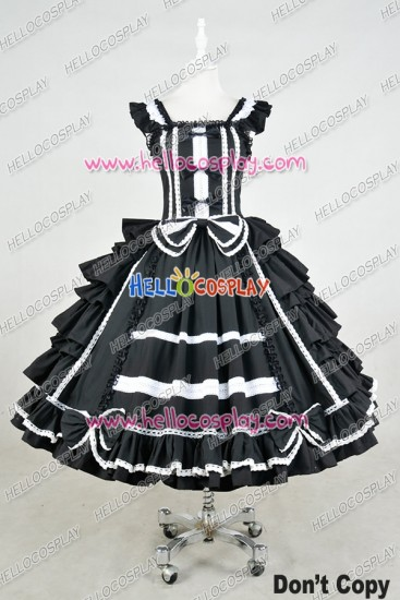 Lolita Dress Gothic Punk Lolita Black Frill Cosplay Costume