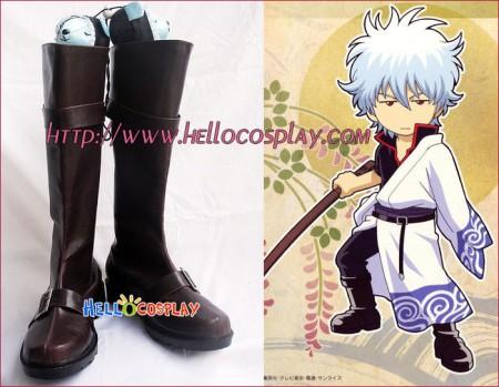 Gintama Cosplay Gintoki Sakata Brown Boots