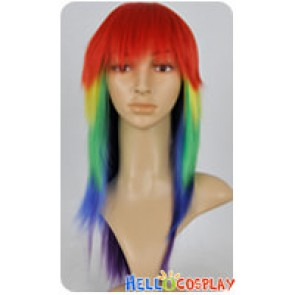 My Little Pony Cosplay Rainbow Multi Color Wig With Tail