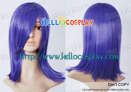 Purple Blue 45cm Cosplay Straight Wig