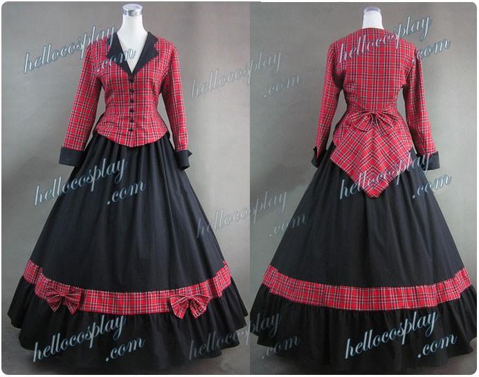 Civil War Cotton Satin Tartan Gown Dress