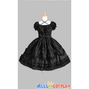 Gothic Punk Lolita Black Ruffle Dress