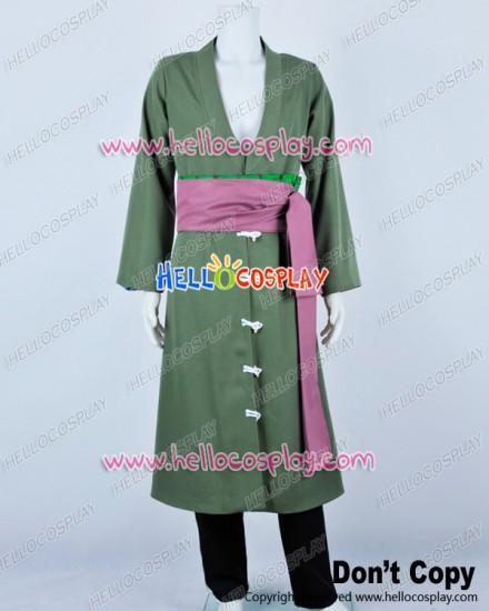 One Piece Cosplay Roronoa Zoro Green Trench Coat Costume