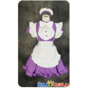 Maid Cosplay Purple White Dress Sweet Costume