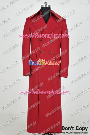 Doctor 4th Fourth Dr Tom Baker Cosplay Costume Red Long Trench Coat