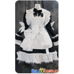 Gothic Lolita Cosplay Maid White Black Dress Uniform Costume