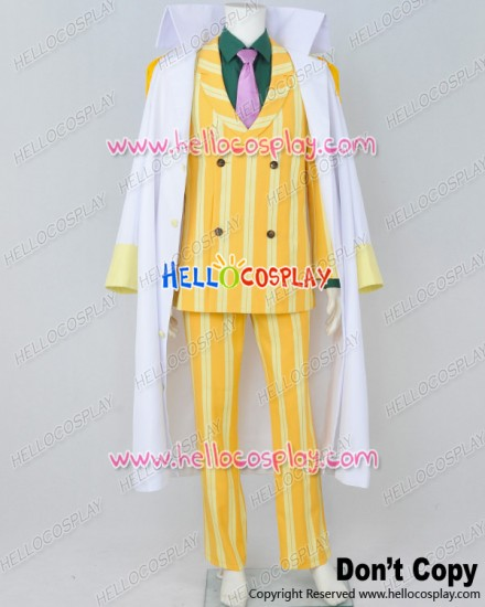 One Piece Cosplay Admiral Sakazuki Kizaru Borsalino Costume Yellow Stripe