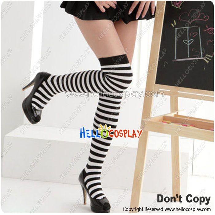 ad82e9a5ba3 Lolita Cosplay School Stripes Stockings Socks