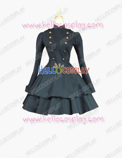 Victorian Lolita Steampunk Military Coat Gothic Lolita Dress Black