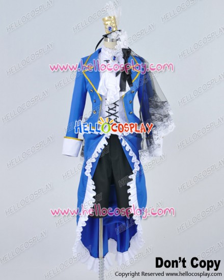 Black Butler Cosplay Ciel Phantomhive Blue Uniform White Camellia Costume