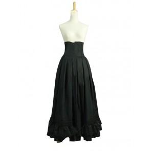 Victorian Lolita Edwardian Period Pleated Skirt Punk Lolita Dress Black