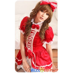 Angel Feather Cosplay Bow Costume Red White Dress