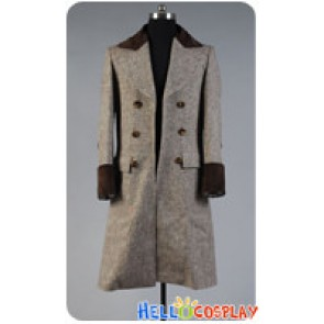 Doctor Cosplay Dr Wenge Brown Long Wool Trench Coat Costume