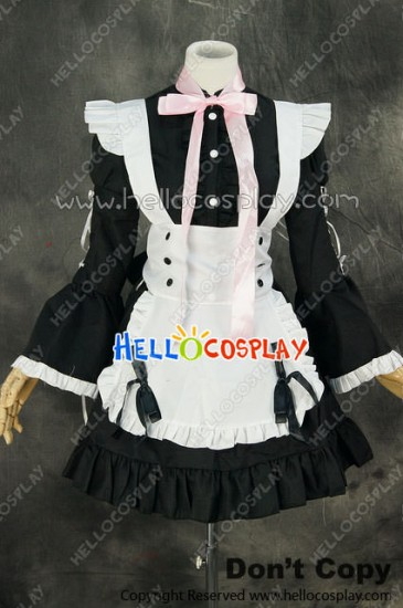 Maid Cosplay Black White Long Sleeves Dress Sweet Costume