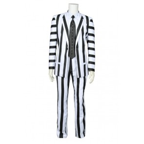 Beetlejuice Betelgeuse Michael Keaton Cosplay Costume Suit