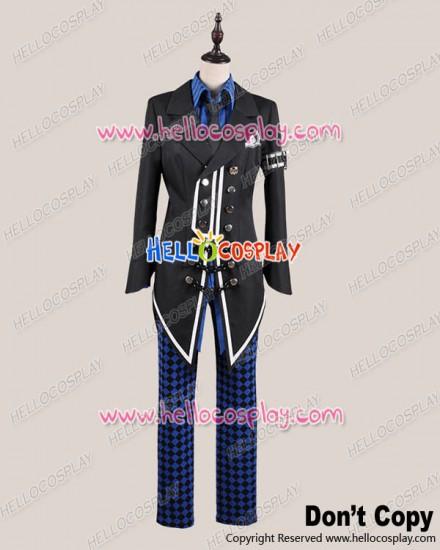 Amnesia Cosplay Ikki Buckles Costume Black Blue Uniform