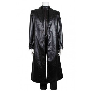 Resident Evil 5 Cosplay Albert Wesker Costume Leather Coat Black