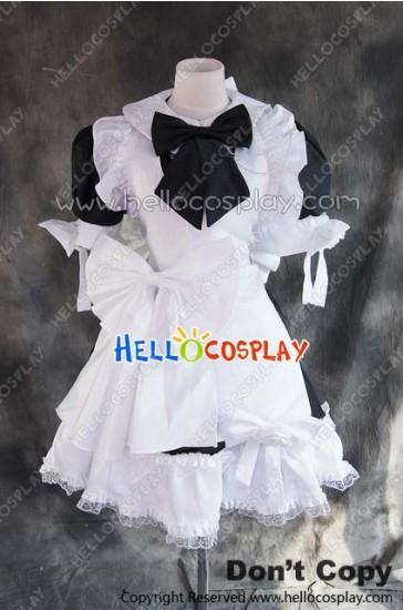 Gothic Lolita Cosplay White Black Maid Uniform Dress Costume