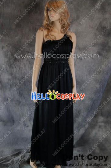 Party Cosplay Black Gem Ball Gown Formal Shoulder Dress Costume