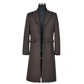 Doctor 4th Fourth Dr Tom Baker Trench Coat Cosplay Costume Dark Wool Version