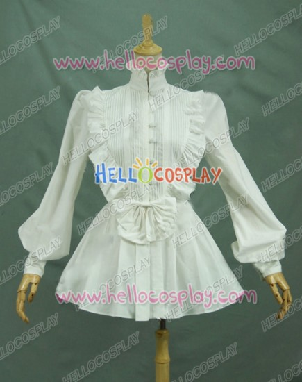 Victorian Lolita Reenactment Romantic Ruffle Blouse Gothic Lolita Dress White
