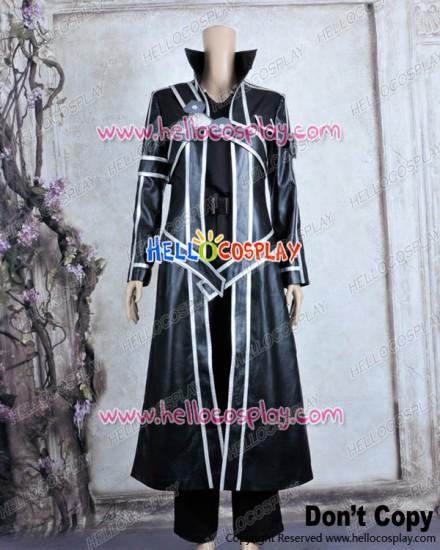 Sword Art Online Cosplay Kirito Kazuto Kirigaya Black Leather Uniform Costume New