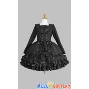 Sweet Lolita Gothic Punk Classic Black Sailor Collar Dress