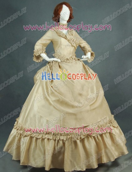 Victorian Lolita Bustle Period Reenactment Gothic Lolita Dress Beige