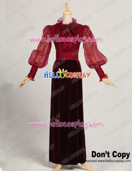 Party Cosplay Victorian Edwardian Classic Velvet Ball Gown Stage Dress Costume