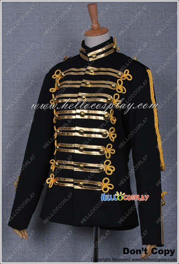 michael jackson military prince black costume gold stripe jacket