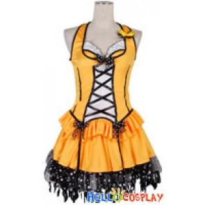 Pumpkin Yellow Black Polka Dot Lace Cosplay Maid Dress Costume