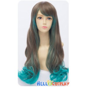 Wig Lolita Cosplay Curly Long Harajuku Style Gradual Change Gray Green