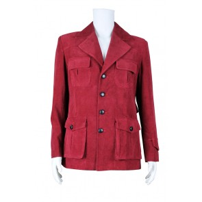 Doctor Cosplay Dr Dark Red Corduroy Trench Coat Costume