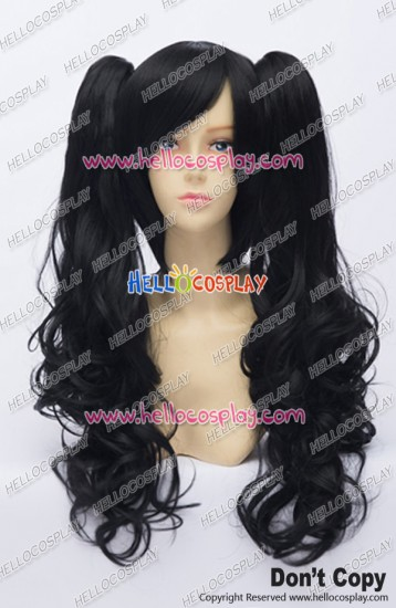 Wig Lolita Cosplay Curly Long Clip On Double Ponytails Black