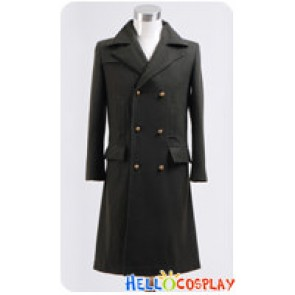 Doctor Cosplay Dr Dark Green Long Wool Trench Coat Costume