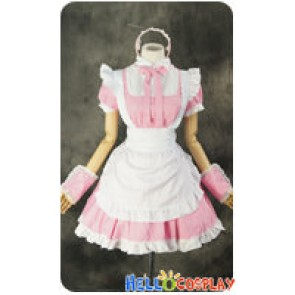 Maid Cosplay White Apron Pink Dress Sweet Costume